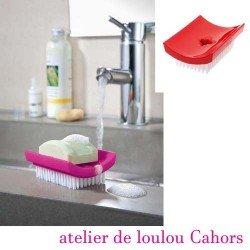 brosse à ongle porte savon - KOZIOL - rouge