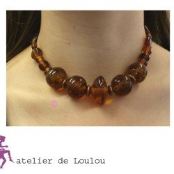 collier marron | collier vintage | vintage necklace