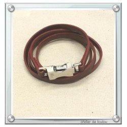 bracelet cuir marron | bracelet lacoste