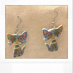 boucle chat multicolore | earing cat