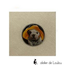 broche résine bouledogue | broche chien | dog brooch