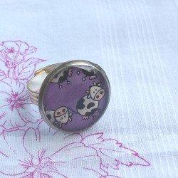 cow ring | bague pas cher| bague résine | bague violette