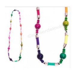 collier bois | collier multicolore | collier double