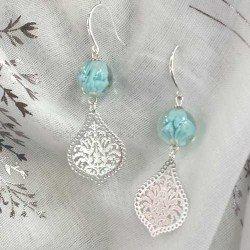 boucle bleu | boucle oreille perle bleu