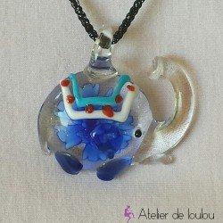 collier éléphant bleu | collier pas cher | pendentif éléphant