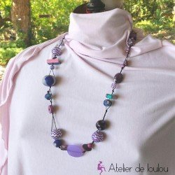 collier boules | collier pas cher | bijou violet | achat collier violet