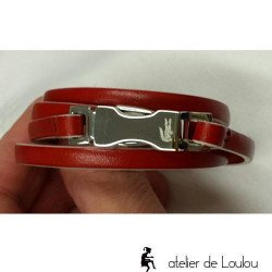 bracelet cuir rouge | bracelet lacoste