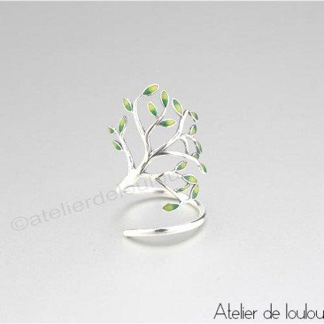 Achat bague argent feuilles   buy ring leaves