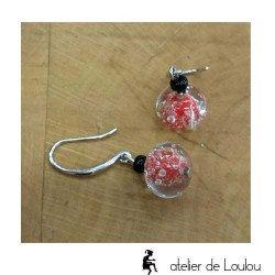 Boucle oreilles rouge | bijou artisanal rouge