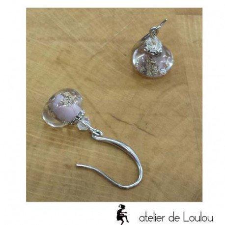 Boucle oreilles violet   bijou artisanal violet
