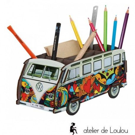 accessoire combi vw   voiture pot crayon   pot crayon bois love