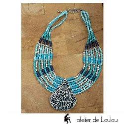 Collier bohéme | collier bleu turquoise