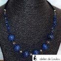 Collier de perles bleu